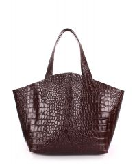 Женская кожаная сумка poolparty-fiore-caiman-brown коричневая